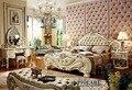 Blanco de lujo madera maciza muebles de dormitorio establece seis piezas traje, 1.8 m cuero genuino de la cama, mesita de noche, silla real y dresser-8016