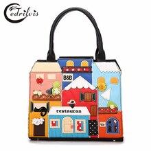 Exquisite Appliques Ladies Handbags W354 Cartoon Designs Women Shoulder Bag 2016 Popular Casual Crossbody Bag Handbags