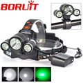 Boruit  XML T6 White+2R5 GREEN 3x LED Headlamp Bicycle Head Light Torch 3 LED Headlight Bike Lamp for Cycling