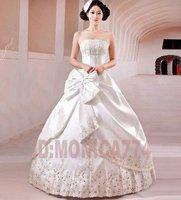 высокое качество пятно бальное платье свадебное платье с с бантом, бесплатная доставка