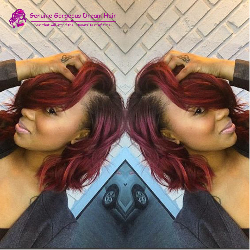 100% human virgin hair #T1b 99j Ombre Burgundy hair Wig Short Bob Curly Two Tone Color Glueless Lace Front/Full Lace Wig Ombre
