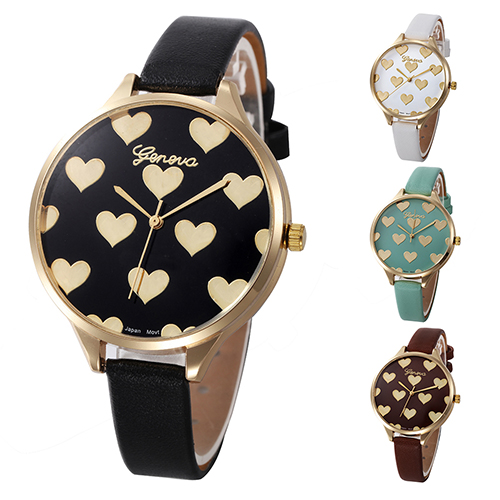Women Geneva Love Heart Dial Analog Faux Leather Band Quartz Wrist Watch geneva heart shaped pattern male quartz watch