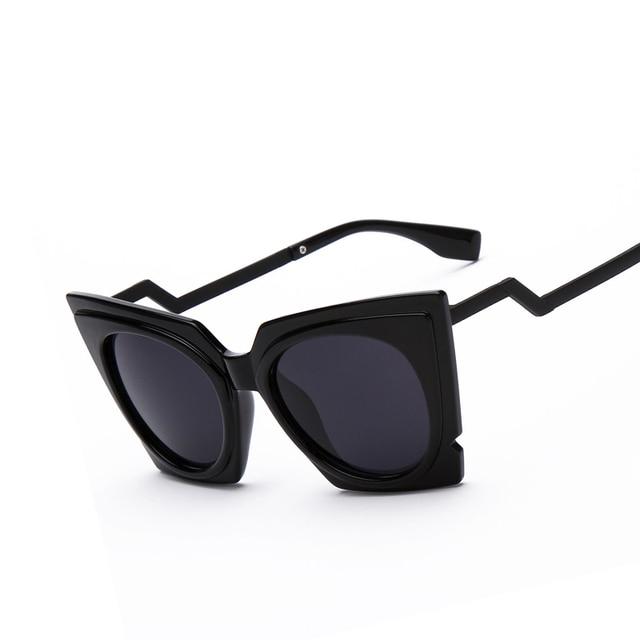 Plastic Glasses Frame Bent : Fashion Brand Oversized frame Cat eye Sunglasses Women ...