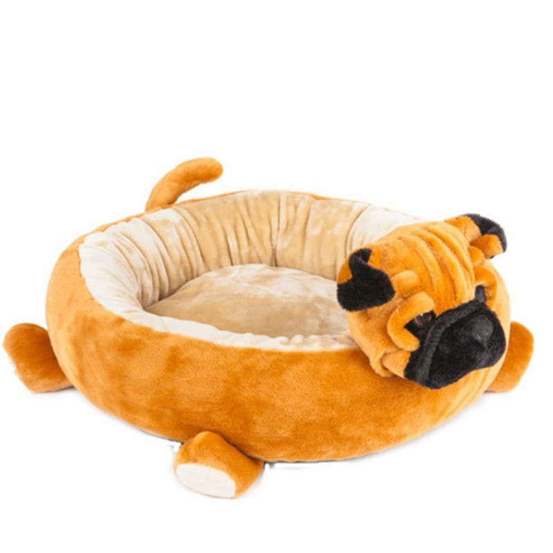 M/L Animal Shaped Dog Bed Pet Cat Mat Cute Brown Washable ...