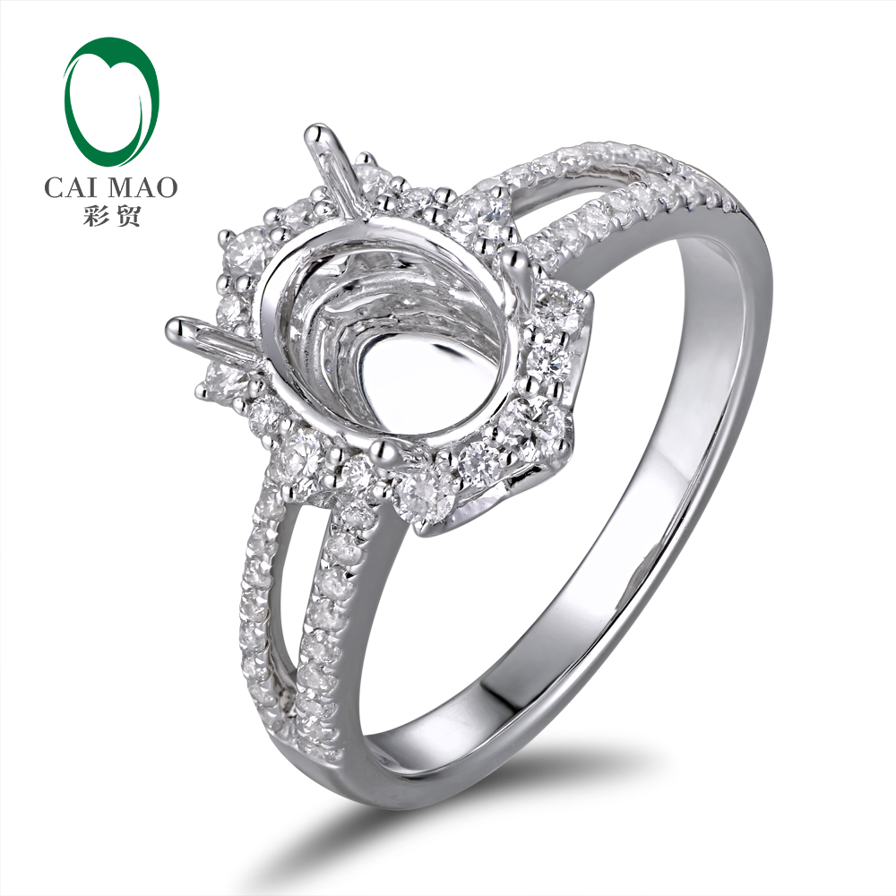 Caimao 6x8mm Oval Cut Semi Mount Setting Ring 18K White gold Natural 0.48ct Diamond Engagement Jewelry