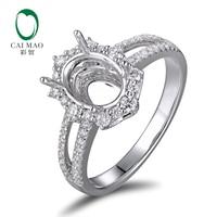 Caimao 6x8mm Oval Cut Semi Mount Setting Ring 18K White gold Natural 0.48ct Diamond Engagement Jewelry