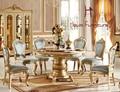 Continental mármol jade dragón rojo mesas de comedor redonda tocadiscos champán oro mesas de comedor de mármol mueble de terraza de estilo europeo