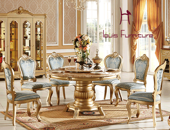 Continental Red Dragon Jade Marble Round Dining Tables Turntable Champagne  Gold Marble Dining Tables Furinture European