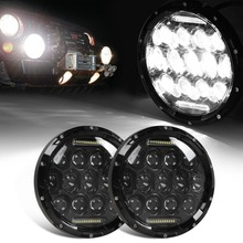 Black DRL 2x 7″ 75W LED Headlights bulb for Wrangler JK CJ LJ Hummer H1 H2 Harley Motorcycle LED Projector Driving Lamps