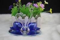 Free Shipping Crystal Wedding Favors,Blue color Crystal Swan Model,Crystal Swan Figurines for Wedding