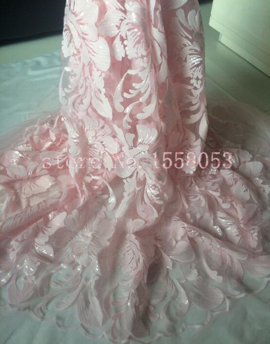 CiCi 61901 with Sequins french lace net fabric latest designs in pink for lady fashion dress
