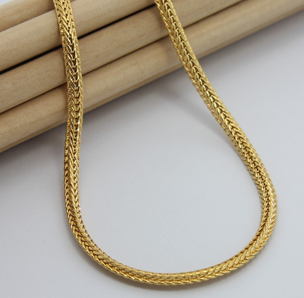 24K Gold Necklace TTDN13 5MM Figaro Chain Free shipping