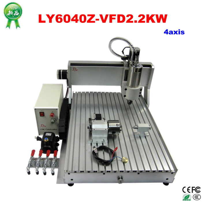 цена на 4 Axis CNC router 6040 2200w water cooled cnc spindle mini metal woodworking cutting machine