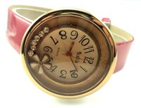 кожаный мода кварцевые часы женщины кристалл наручные часы 5-2911