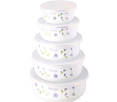 Great Enamel Box Small Orchid Ice Bowl Fresh Keeping Container Storage Bowl Of  Salad Bowl Mixing