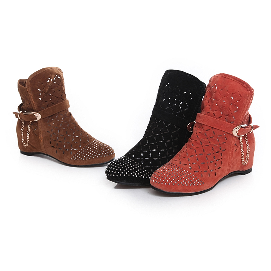 New Style Women Shoes Fashion Nubuck Leather Fretwork Height Increasing Sandals Rhinestone