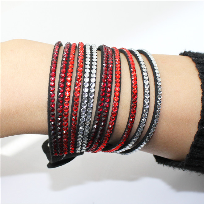 Fashion 6 Layer Wrap Bracelets Slake Leather Bracelets With Crystals Couple Jewelry womans bracelet 20