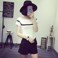 Summer style crochet crop top 2017 short sleeve fitness women sexy knitted top vintage Striped Knit bustier top WS-016