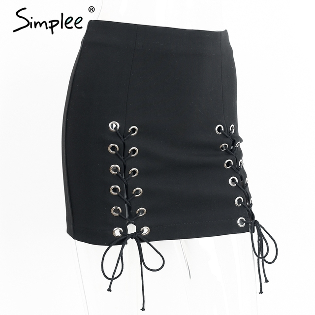 Simplee Sexy lace up cross pencil skirt Women elegant hollow out short skirt Autumn winter 2016 casual split bodycon black skirt