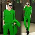 Track suit Tops + Long pants +Vest Three-piece Hooded Knitting Add wool  Autumn Winter Large size Women's sportswear BN1749