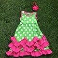 1 - 9 лет полностью оснащенная новое поступление мода девушки зеленый белый милый платье ярко розовый с оборками платье с головных уборов