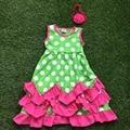 1-9 años de edad completamente almacenada recién llegado de moda chicas punto blanco verde caliente del vestido lindo vestido rosa con volados con headwear