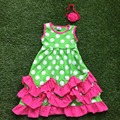 1-9 years old Fully stocked new arrival fashion girls  green white dot cute dress hot pink ruffle dress with headwear