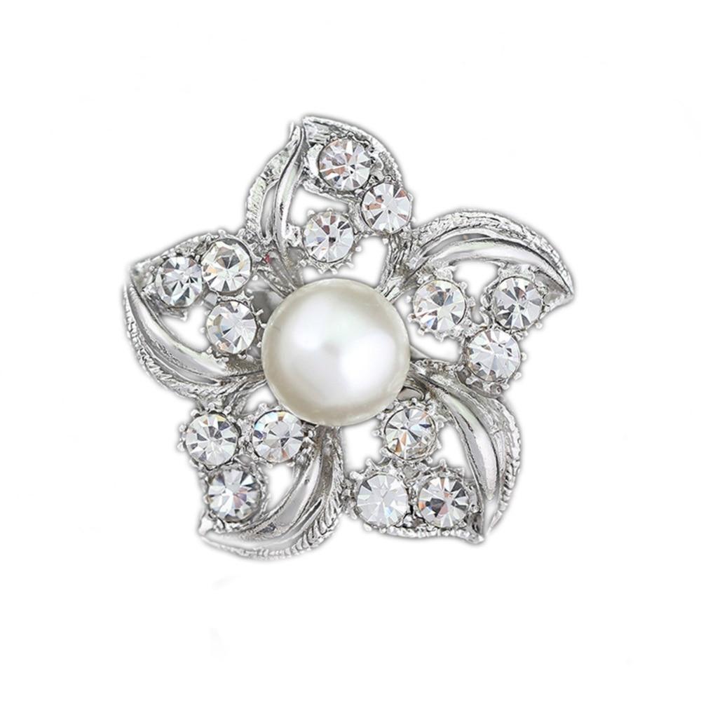 Fashion Accessories Graceful Flower Shape Rhinestone Brooch Dress Decoration Silver Collar Pin Gift YBRH-0249