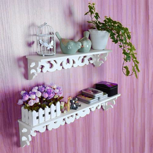 2PCS White Shabby Chic Filigree Style Shelves Cut Out Design Wall Shelf Home Holder S+L polished filigree wave cut out bracelet