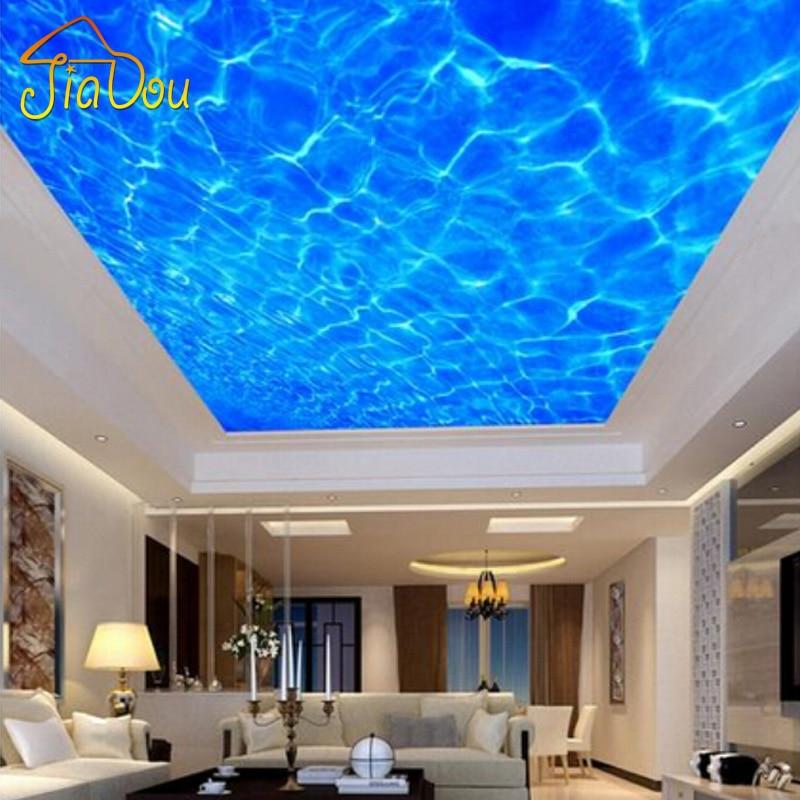 ④Custom 3D Foto Behang Hoge-end Blauw Water Lijnen Systeemplafond ...