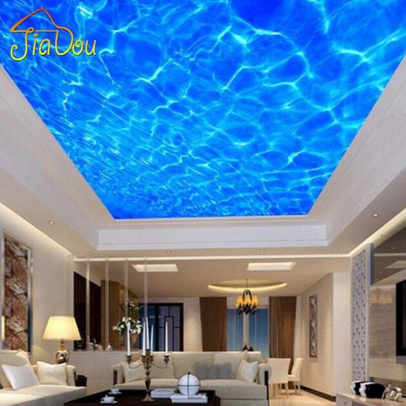 custom 3d photo wallpaper high end blue water lines suspended ceiling mural living room bedroom. Black Bedroom Furniture Sets. Home Design Ideas