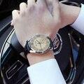 FUNIQUE Роскошные TOP Brand Бизнес Мужчины Часы 2017 Мужской Синий Луч Стекло Кварцевые Часы Аналоговые Кожаный Мужской Часы Часы