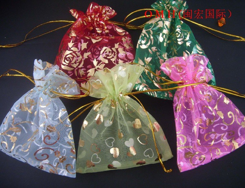 100pcs Lot Mixed Nice Chinese Voile Gift Bags Christmas Bag Wedding 12x10cm Bz03