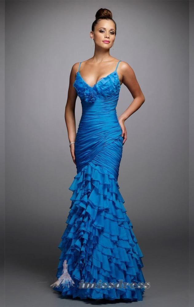 bl0520 бесплатная доставка новое постулат длинные синий Bolt RUS рюшами спагетти ремень многоуровневое платья формальные вечернее ну watering выпускного вечера платья