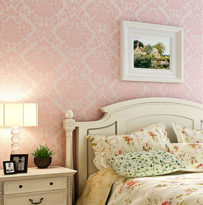 Luxury Victorian Vintage Light Pink Damask Fabric Wallpaper Bedroom