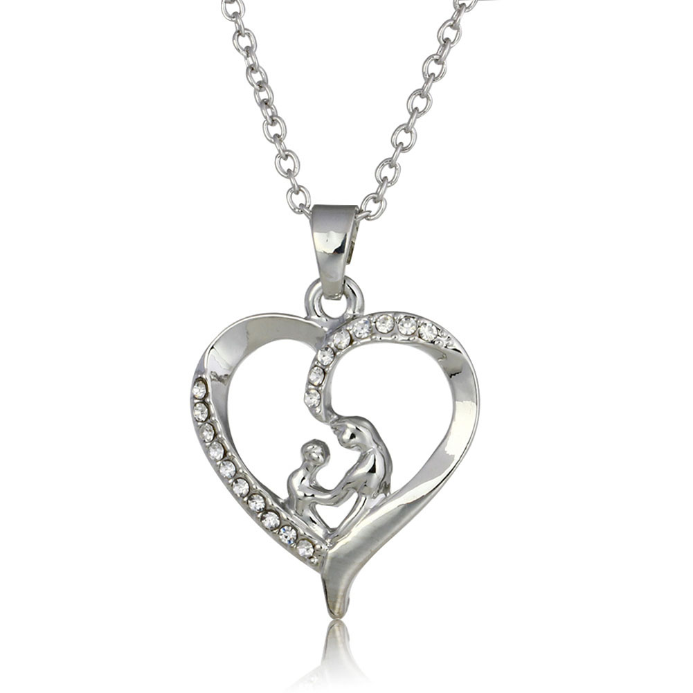 Moms Jewelry Chain Link Gift Mother Baby Heart Pendant Mom