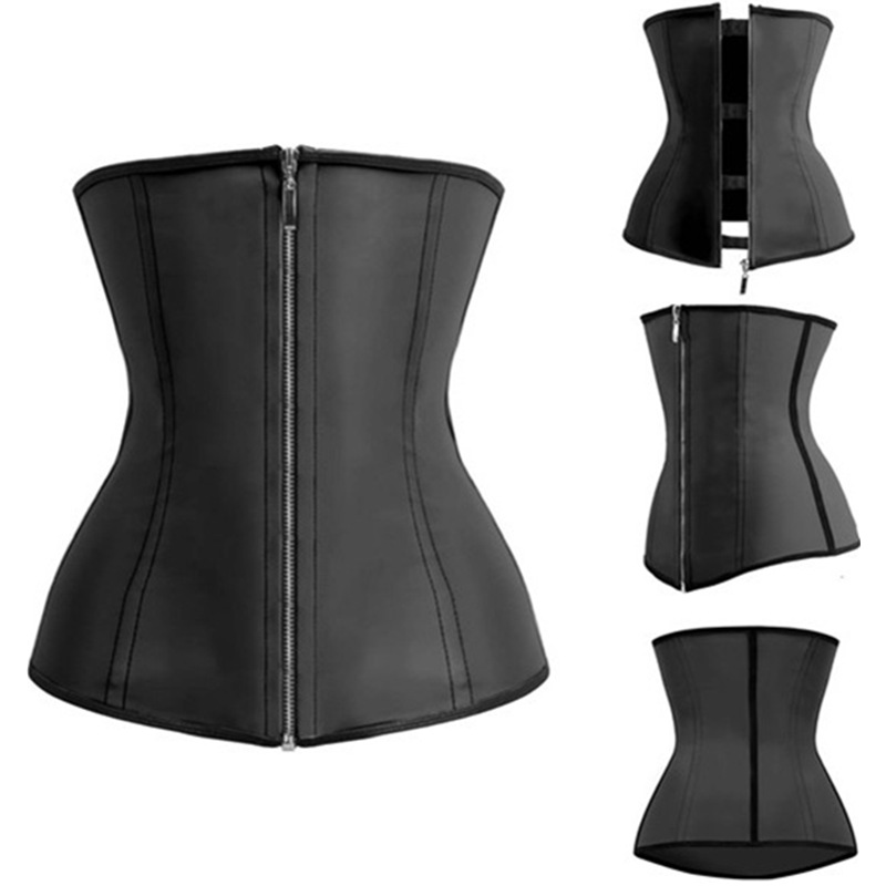 Latex Waist Trainer Black   Corsets     Bustiers   Rubber Latex   Corsets   And   Bustier   Zipper Fitness Underbust   Corset   M1303