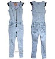 бесплатная доставка новых европейских и американских континентов дамы растянуть молния без рукавов джинсовые брюки-g264