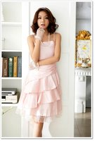 бесплатная доставка! новый свободного покроя платье для коктейль-зеленый рюшами розовый опт и Роза