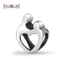 Mère Enfant Coeur Famille 100% 925 Breloques En Argent Sterling Convient Pandora Européenne Charms Bracelet M