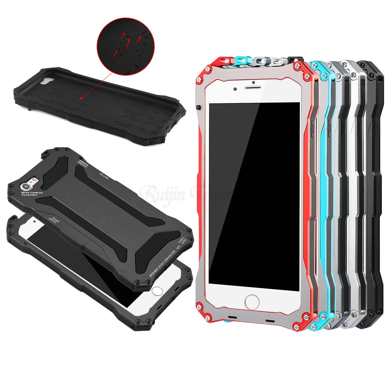 bilder für Luxury Stoßfest Wasserdicht Metallkasten Für iPhone 5 5 6 6 s Plus Schirm-schützender Gorilla Glas Aluminium Heavy Duty Rüstung abdeckung