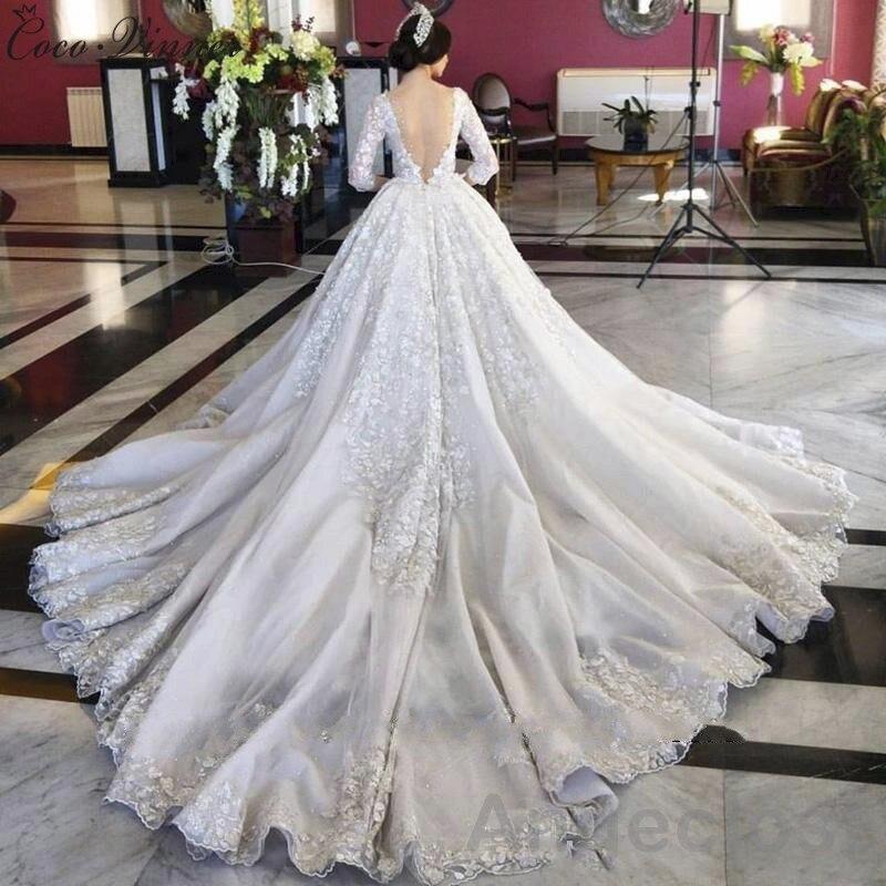 Wedding Dresses Luxury : Aliexpress buy c v dubai royal train long luxury wedding dress custom made neck