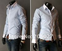 на лучшее качество! 5 цветов! бесплатная доставка новые мужские рубашки повседневные тонкий Fit стильные рубашки платья цвет белый