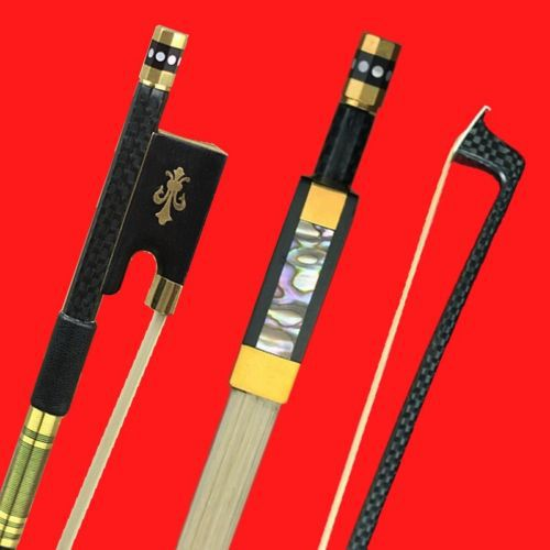 High Quality Professioanl New Light Carbon Fiber 4/4 Violin Bow Copper Parts Mongolia AAA White Horse Hair Horsetail