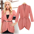 2016 European and American Style Sexy Fashion Women Trench Chiffon Coat Single Breasted Long Sleeve Adjustable Waist