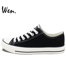 Customize Black Low Top Shoes Offer Pictures You Like Design Unique Canvas Sneaker for Men Women