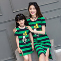 2016 mother daughter dresses mom and daughter dress family look girls cartoon mickey dress matching mother and daughter clothes