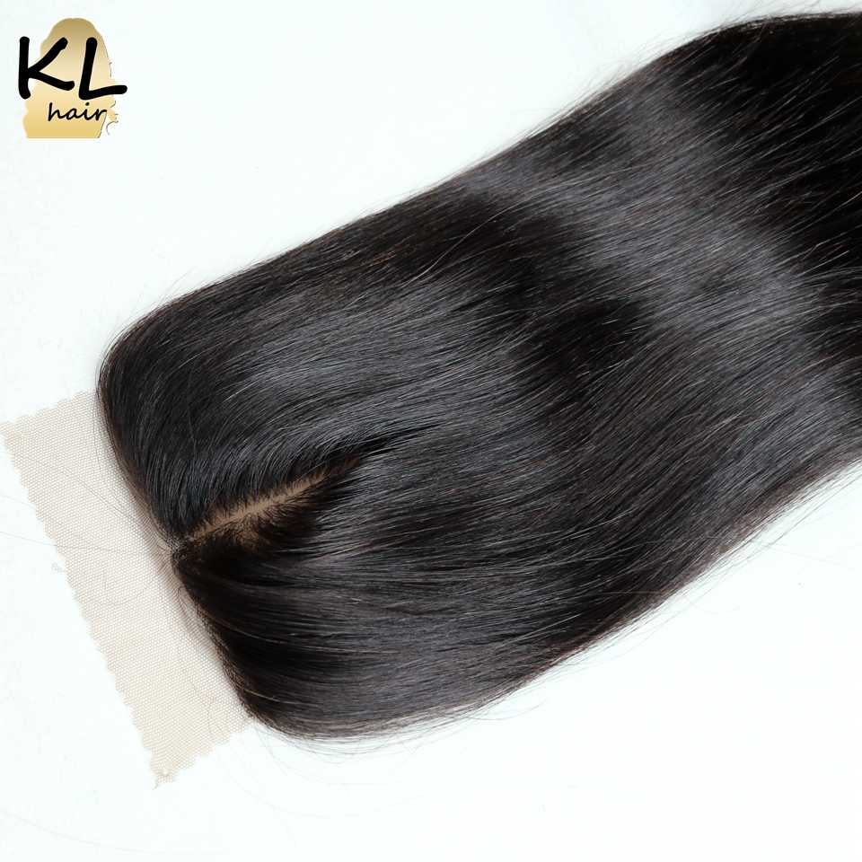 KL Silk Base Closure Straight Human Hair Brazilian Remy Hair Silk Lace Closure Free Middle 3 Part Bleached Knots With Baby Hair