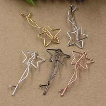 50pcs 63x25mm star design hair clip bobby pin gun black&gold&silver&white&rose gold color option(China)