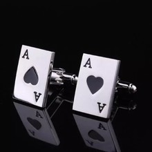 high quality game cufflinks of black heart a poker cufflinks for mens silver wedding designer poker